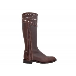 068FS - Paloma - Very chic leather boots with decorated shank