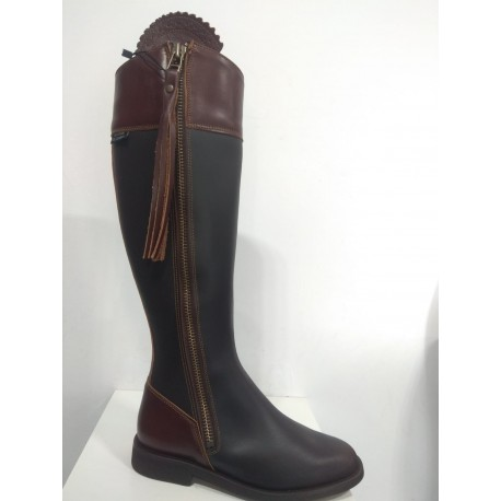 090 Elegant High boots , brown-dark brown