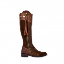 090 Choc -Brown, Cartujano  leather riding boots decorated