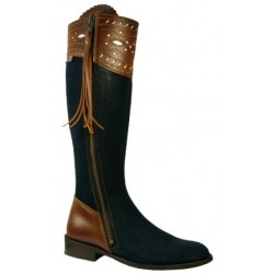 090CA Spanish Leatherboots blue -brown