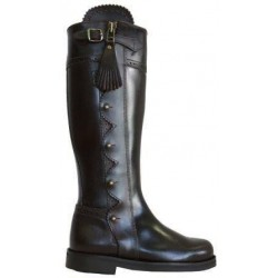 071MBL - Brown leather riding boots with thin rubber sole